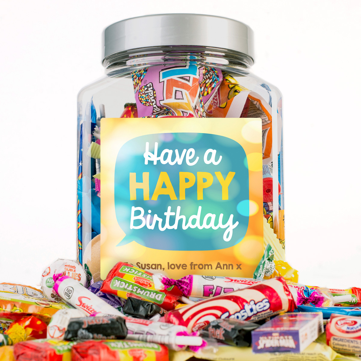 Image of Personalised Retro Sweet Jar - Have A Happy Birthday