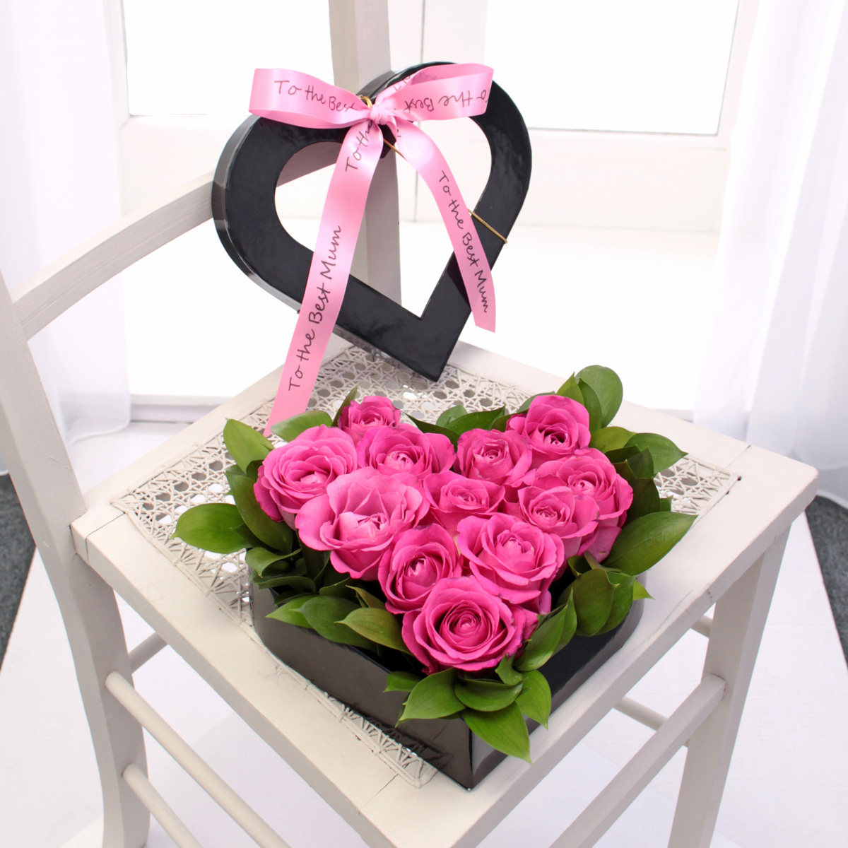 Mothers Day Pink Rose Heart Hat Box