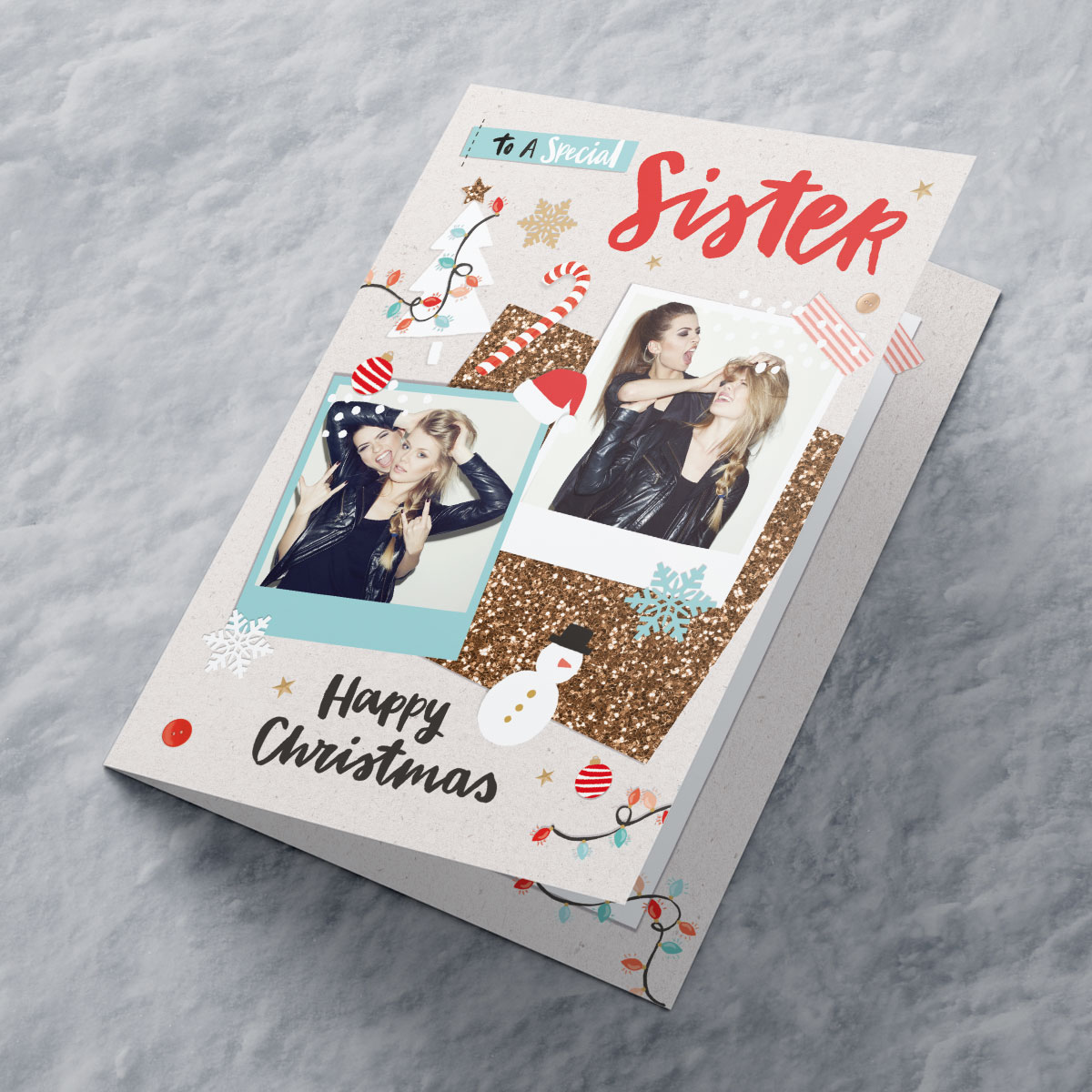 Multi Photo Upload Christmas Card - Special Sister