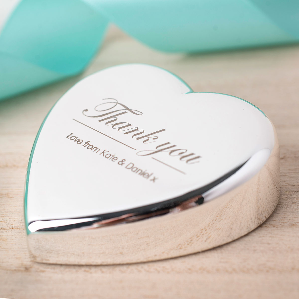 Engraved Heart Paperweight  Thank You