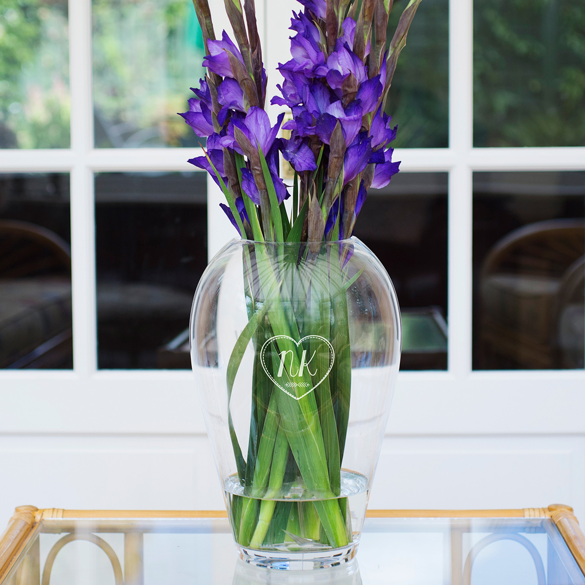 Personalised LSA Flower Grand Bouquet Vase  Initials In Heart