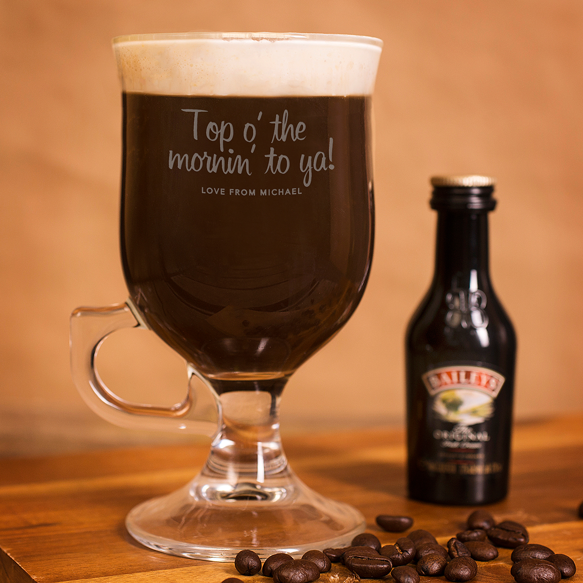 Personalised Irish Coffee Glass With Baileys Miniature  Top O The Mornin To Ya!