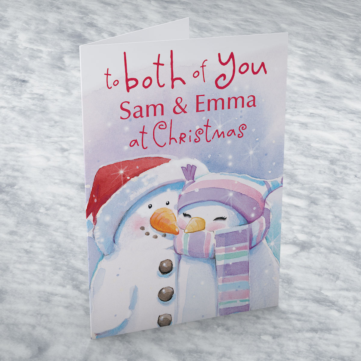 Personalised Christmas Card - Snowmen Couple
