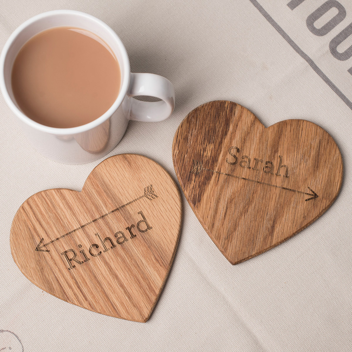 Personalised Set Of 2 Wooden Heart Coasters - Arrow