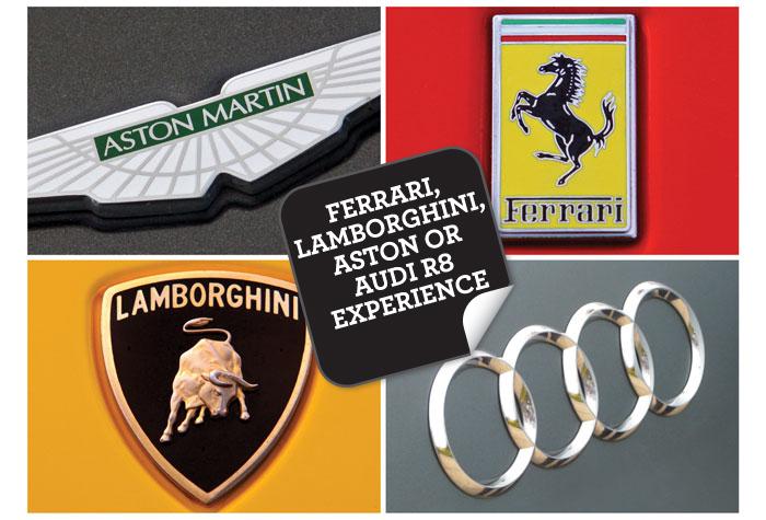 Ferrari Lamborghini Aston or Audi R8 Experience