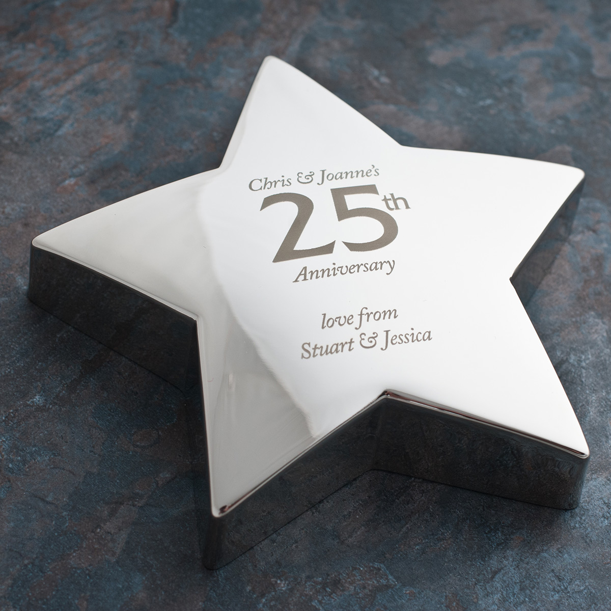 Image of Engraved '25th Anniversary' Silver Star Paperweight