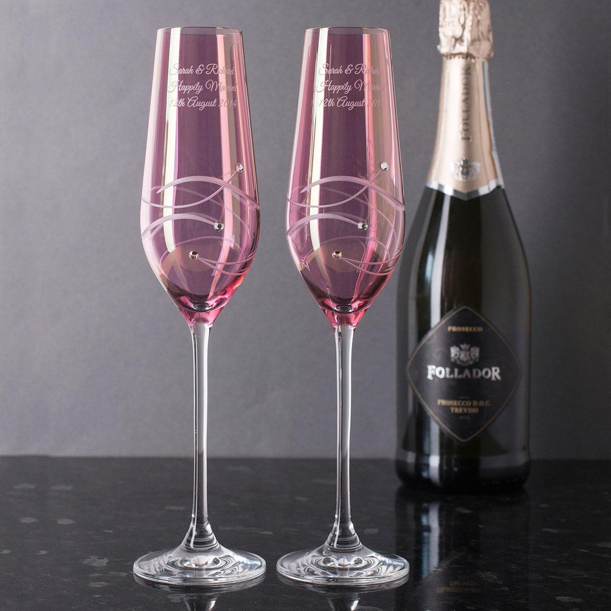 Engraved Pink Swarovski® Elements Diamanté Champagne Flutes