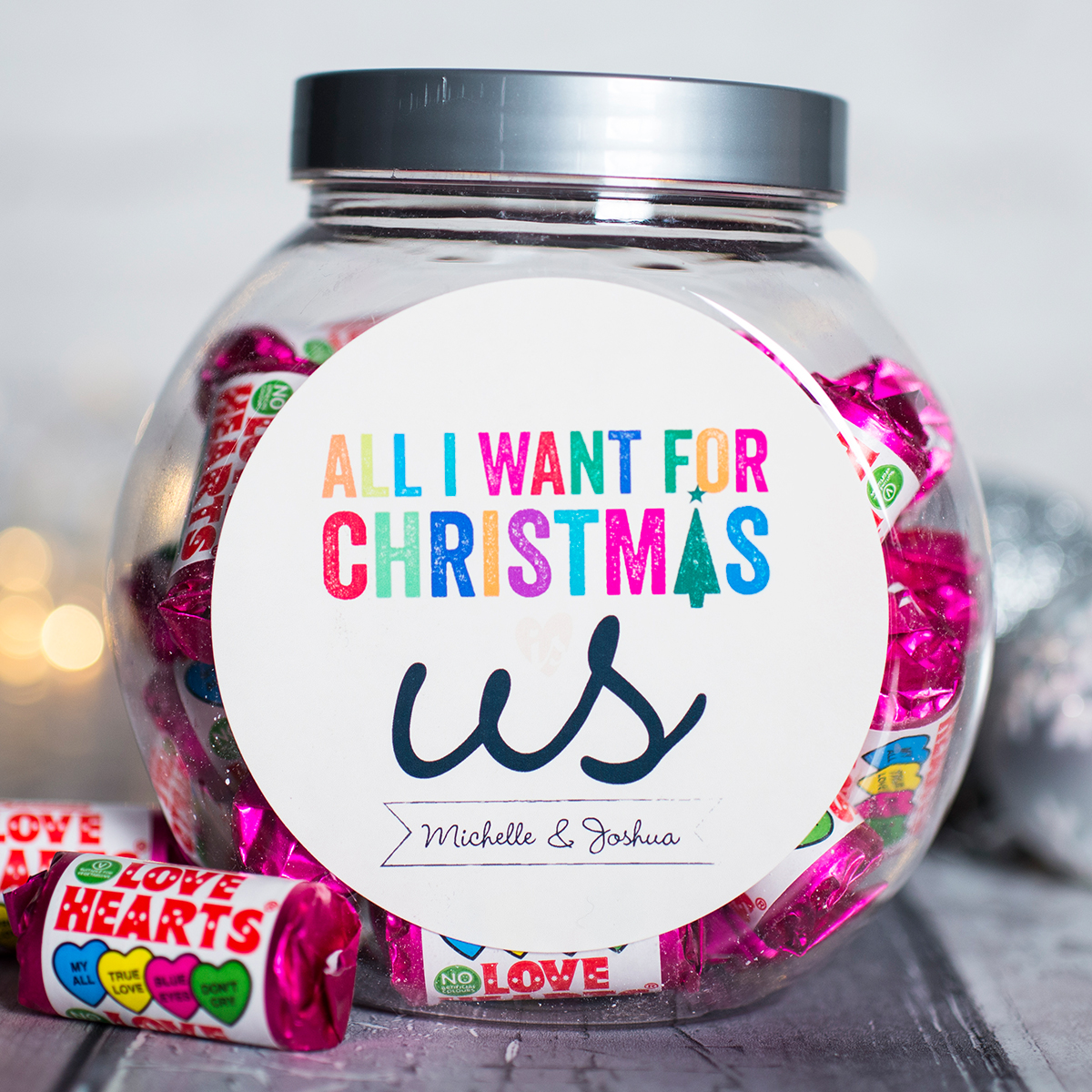 Personalised Love Hearts Jar - All I Want