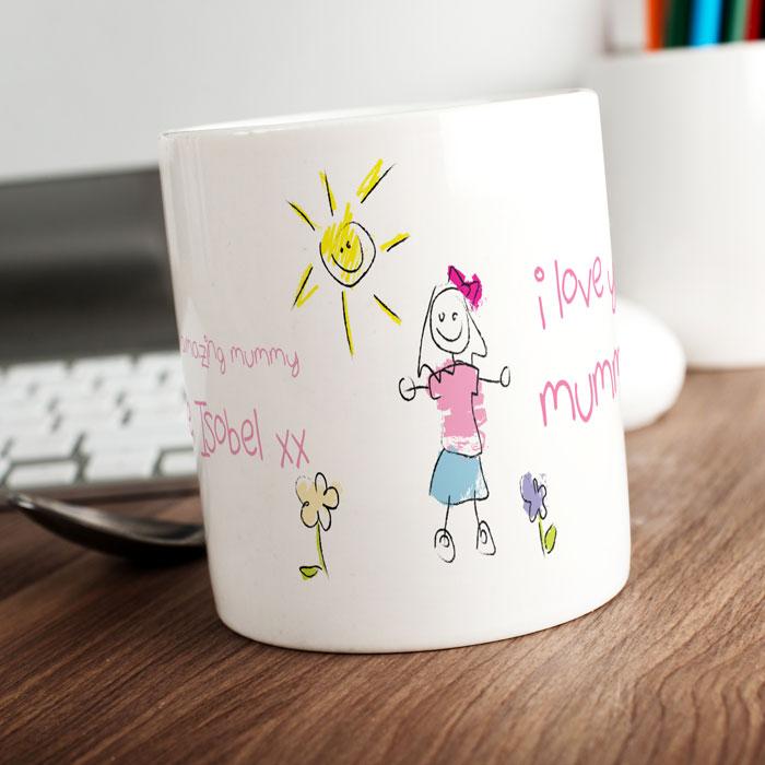 Personalised Mug - I Love You Mummy Pink Scribble