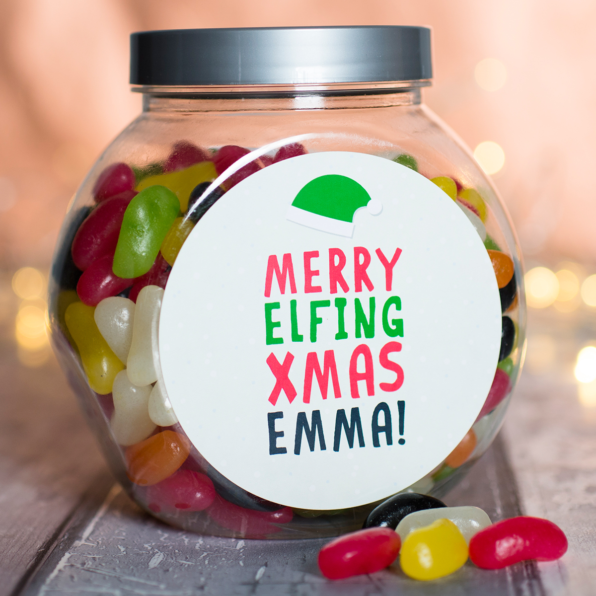 Personalised Jelly Beans Jar - Merry Elfing Xmas