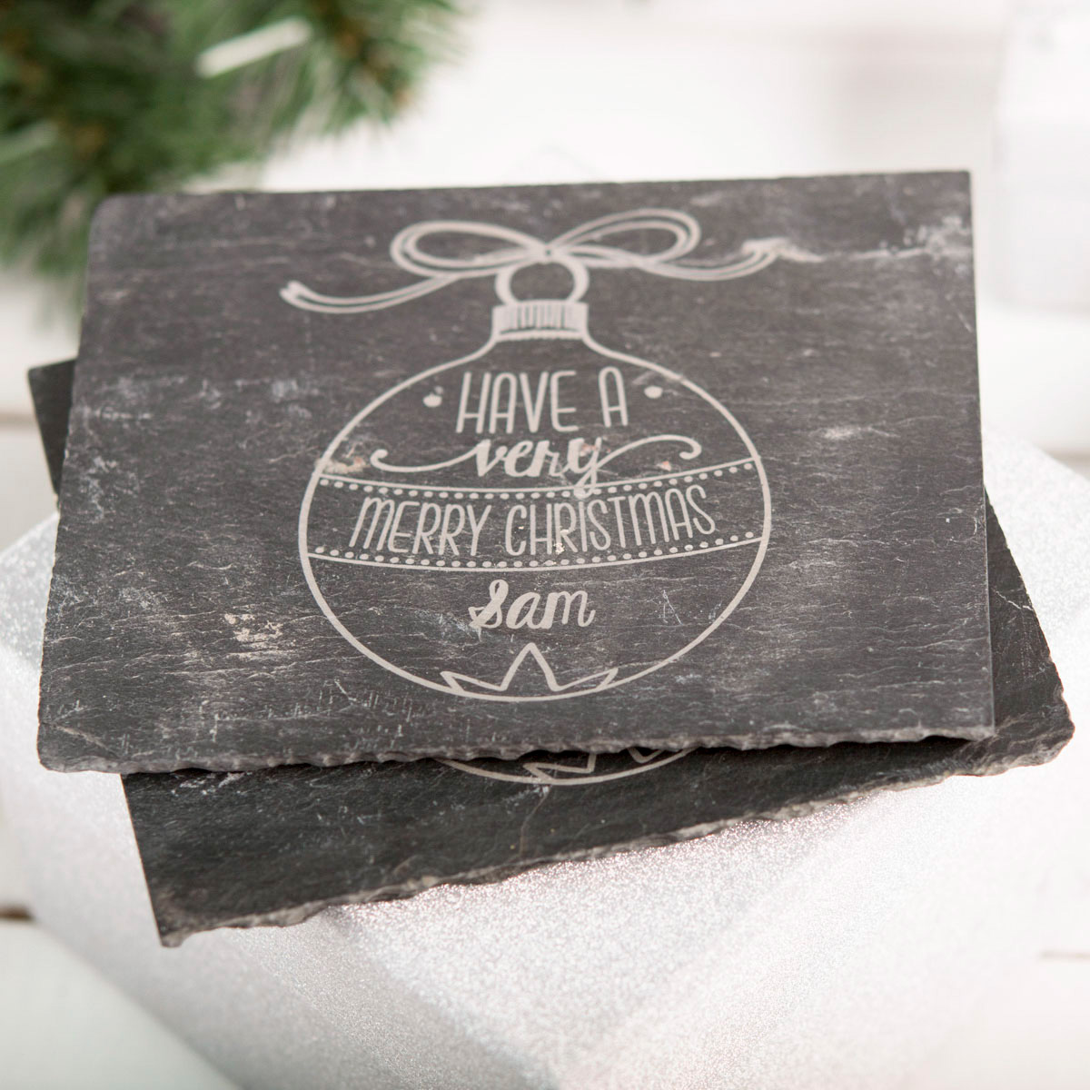 Personalised Set Of 2 Slate Coasters - Have A Very Merry Christmas