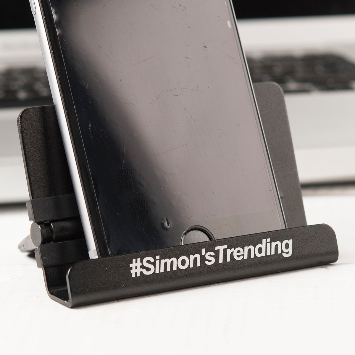 Personalised Phone Stand With Touch Pen  Hashtag