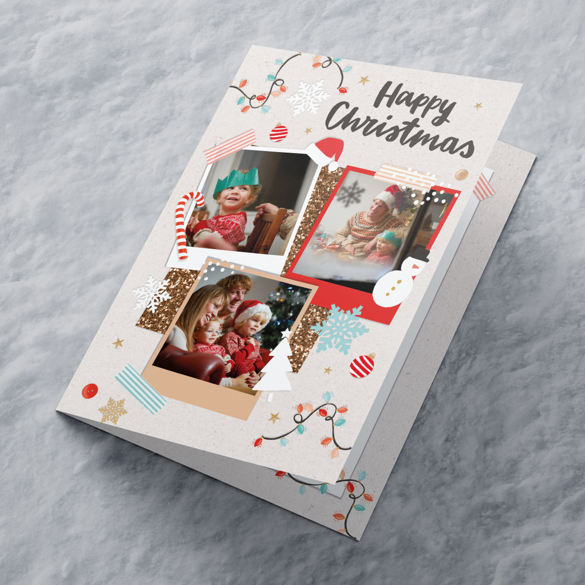 Multi Photo Upload Christmas Card - Three Photos