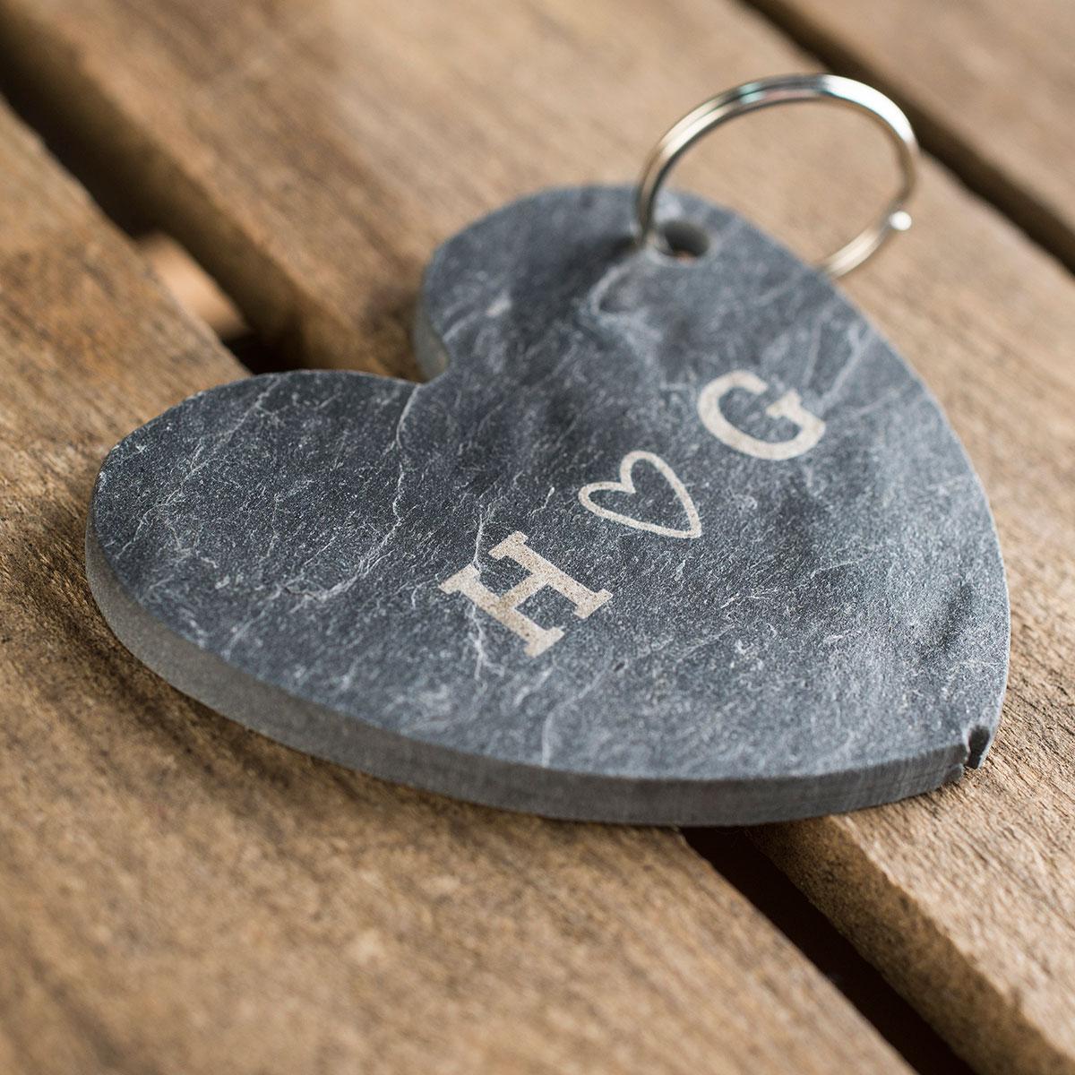 Personalised Slate Heart Keyring   Couples Heart