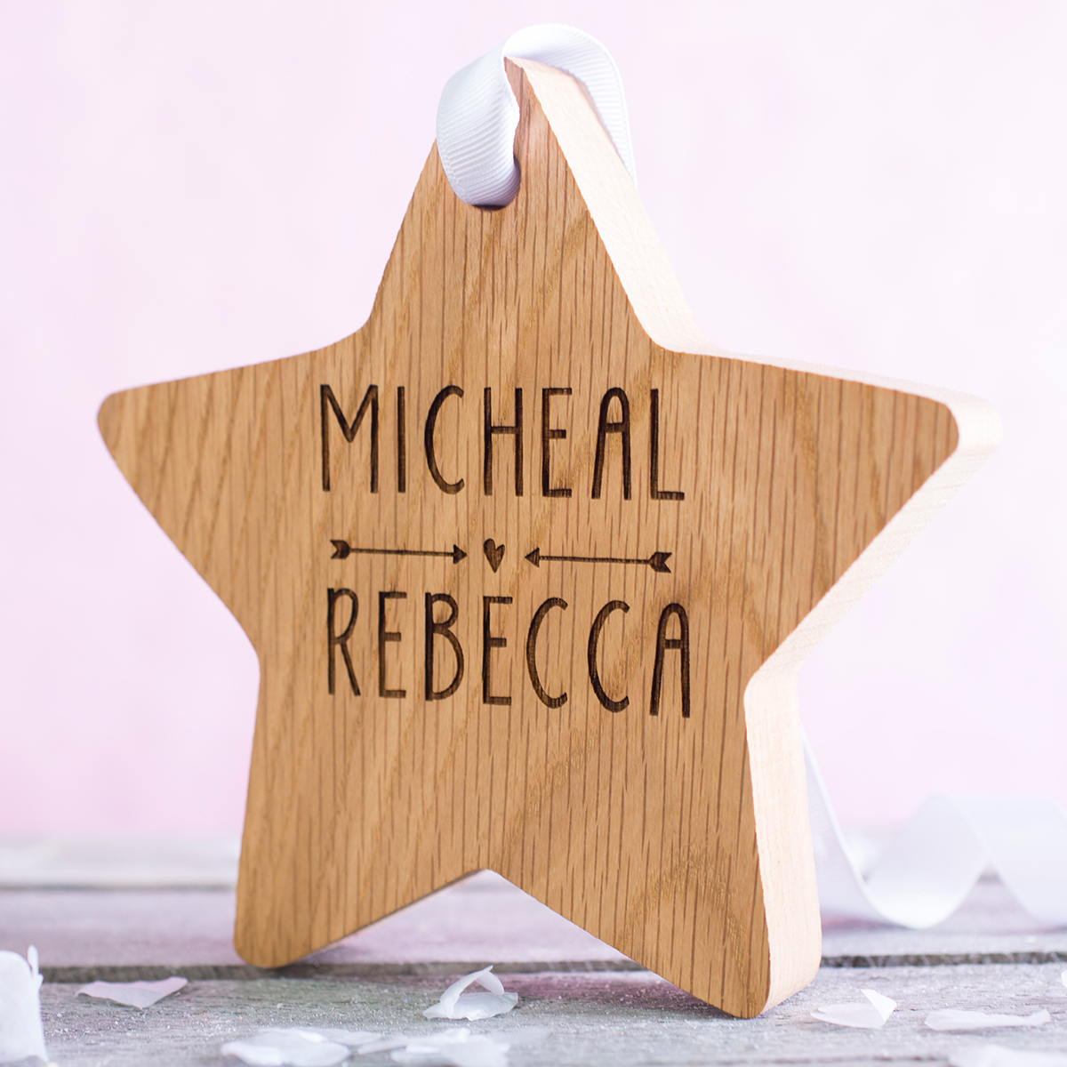 Personalised Hanging Wooden Star - Cupid's Arrow