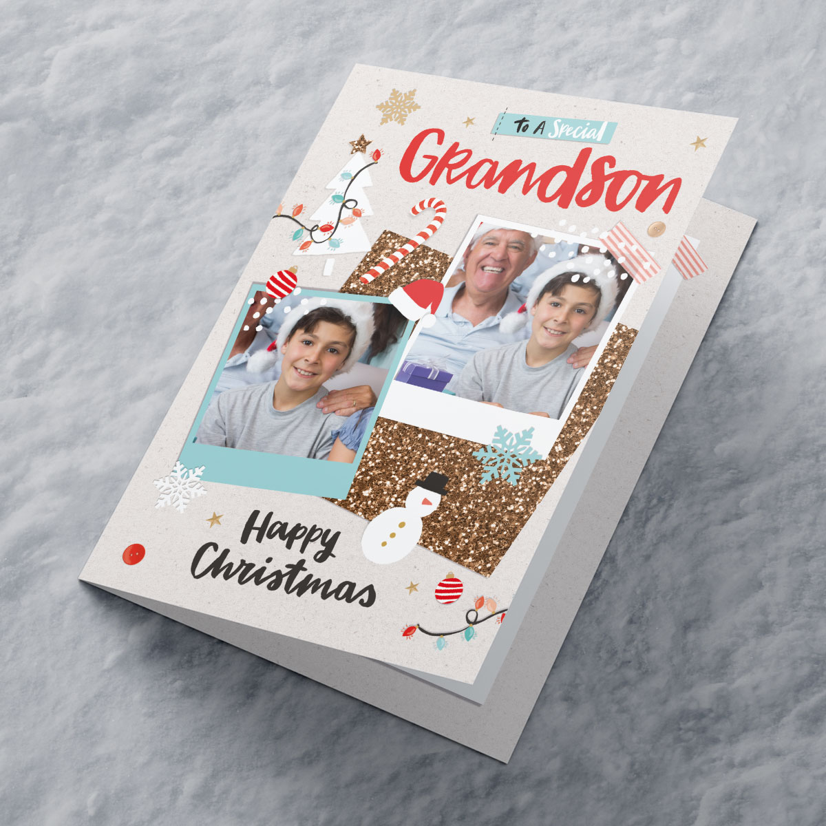 Multi Photo Upload Christmas Card - Special Grandson