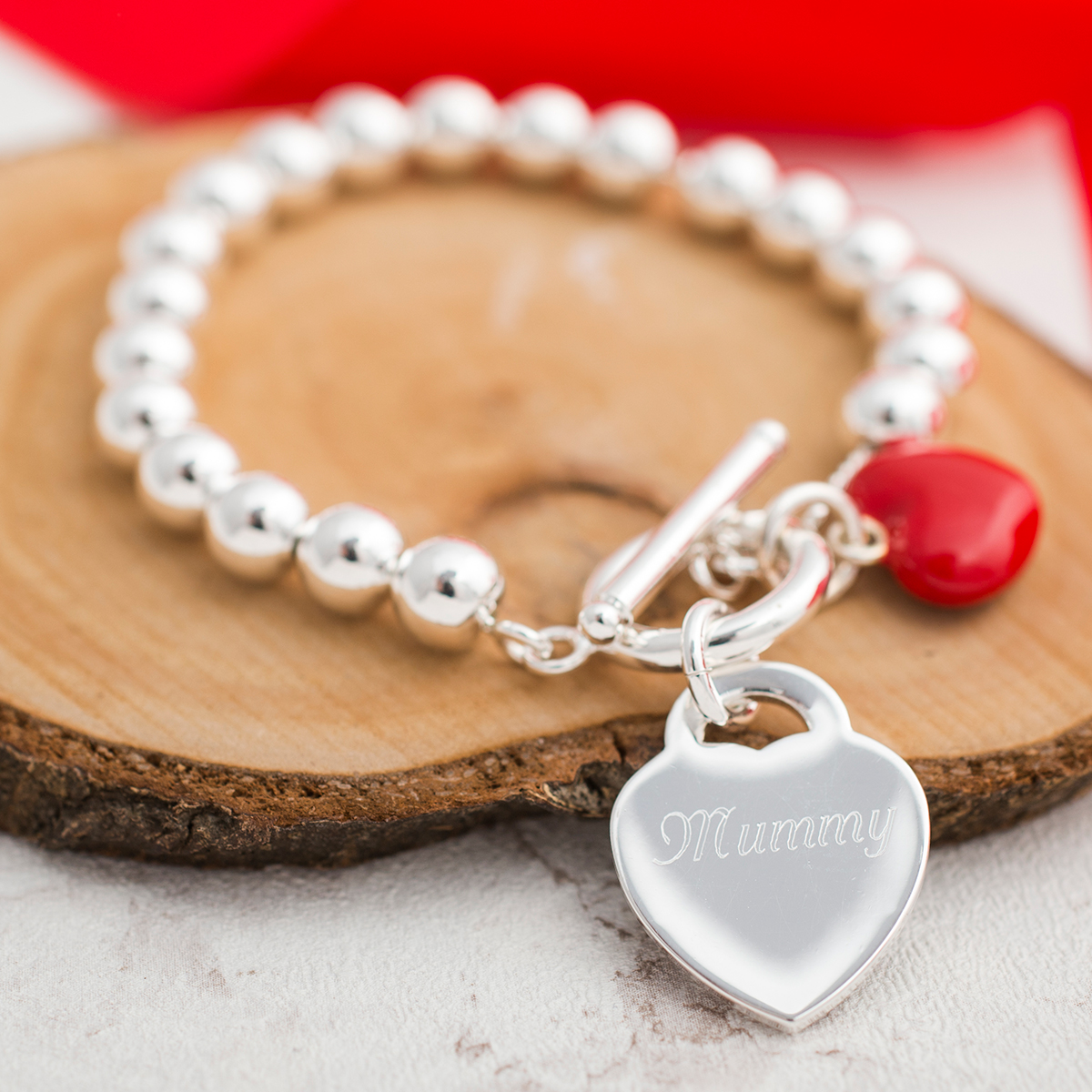 Personalised Red Heart SilverPlated Ball Bracelet