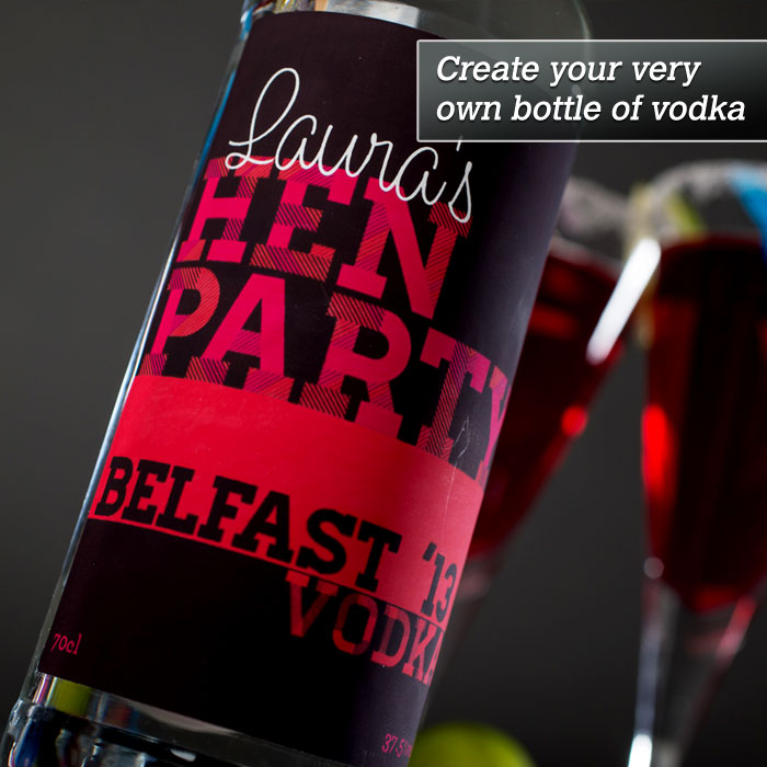 Personalised Vodka  Hen Party Black & Red Design