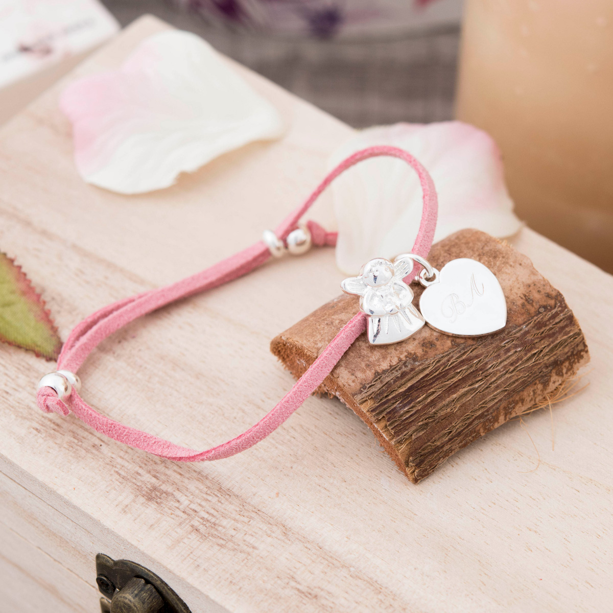 Engraved Suede Bracelet With Fairy & Heart  Choose From 3 Colours