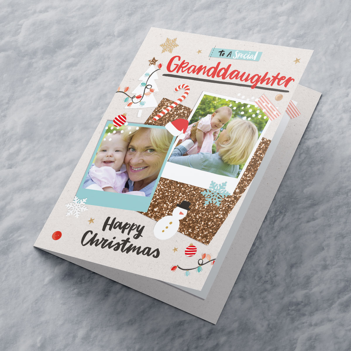 Multi Photo Upload Christmas Card - Special Granddaughter