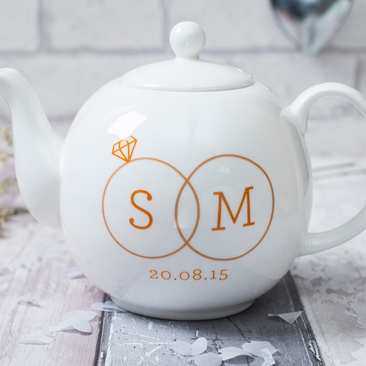 Personalised Bone China Teapot  Two Rings
