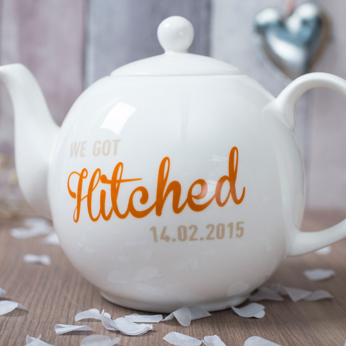 Personalised Bone China Teapot  We Got Hitched