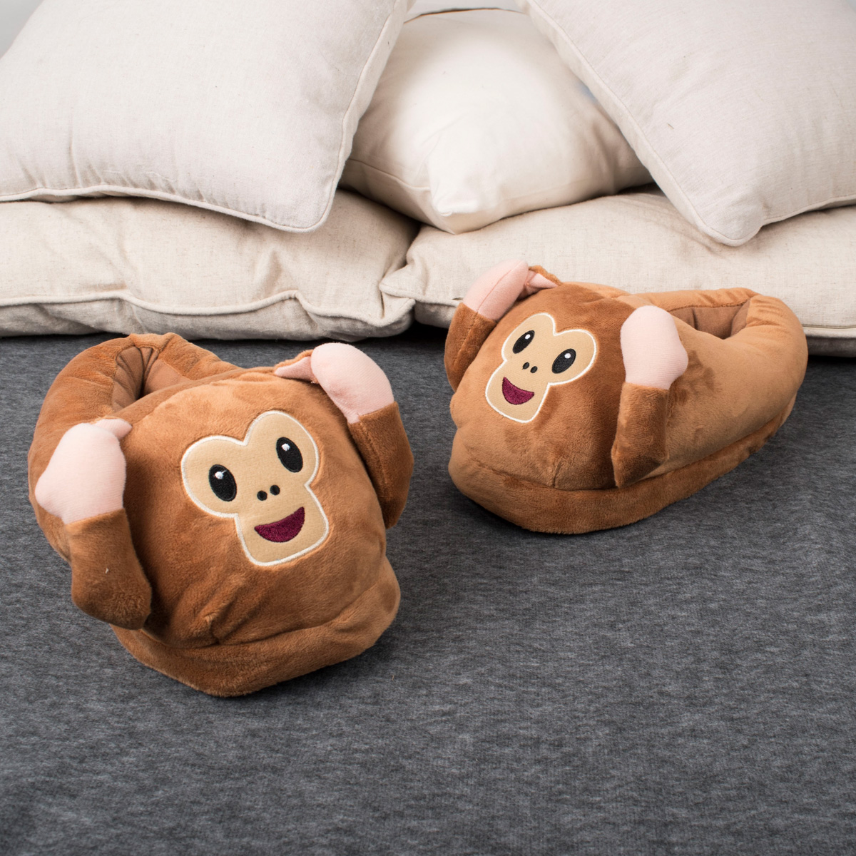Monkey Emoji Slippers