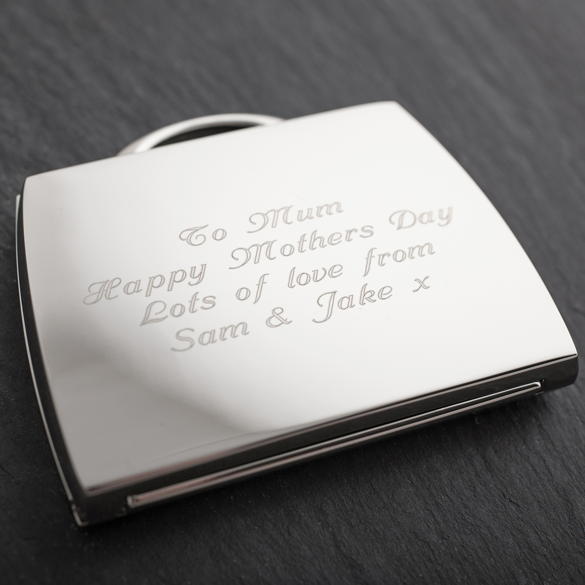Engraved Handbag Compact Mirror