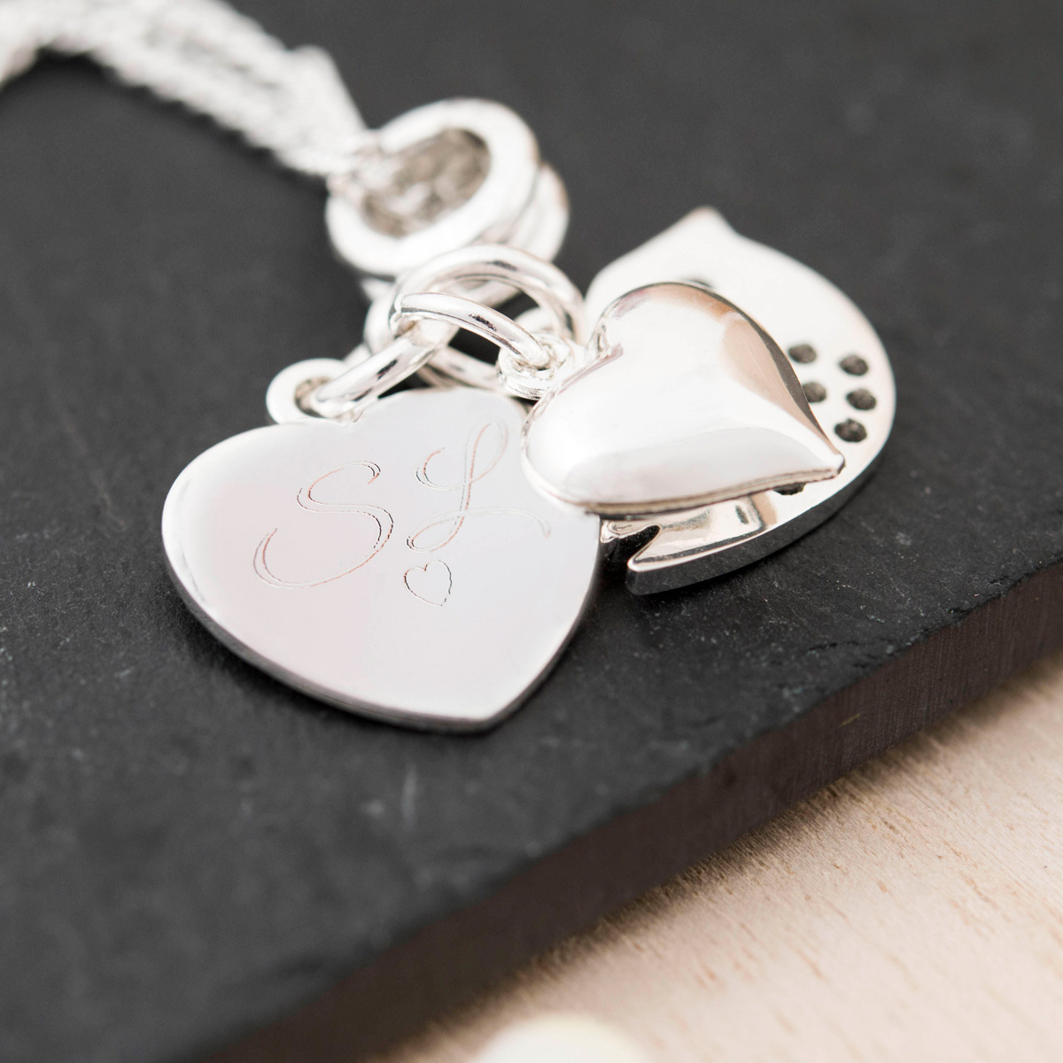 Engraved Heart & Bird Charm Necklace  Initials