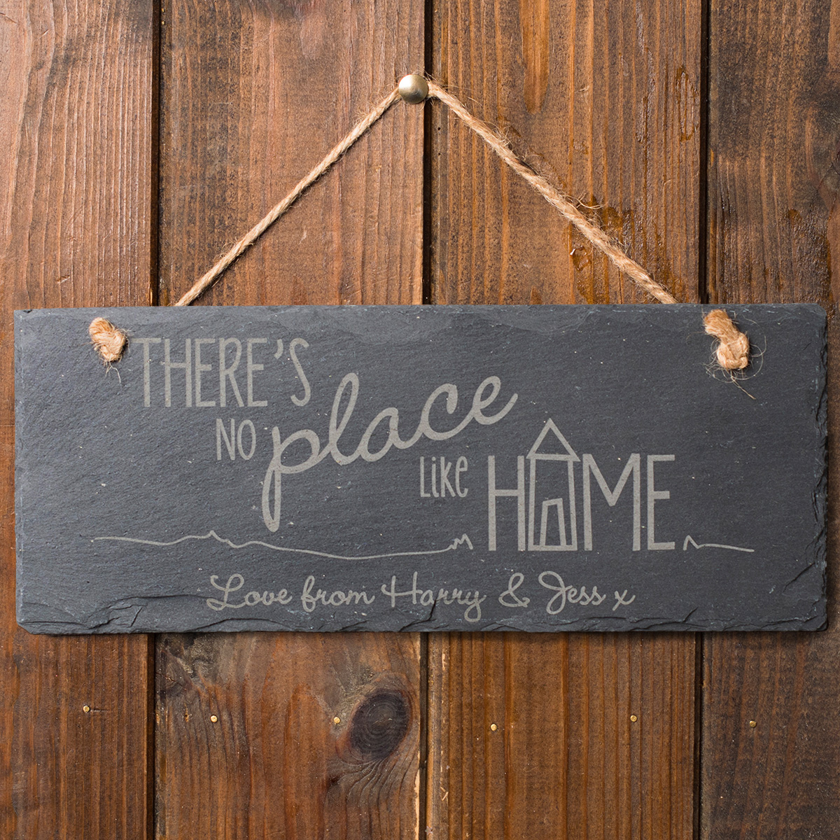 Personalised Hanging Slate Sign  Theres No Place Like Home