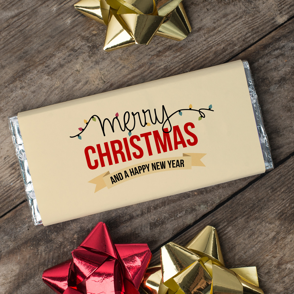 Personalised Chocolate Bar  Christmas Lights
