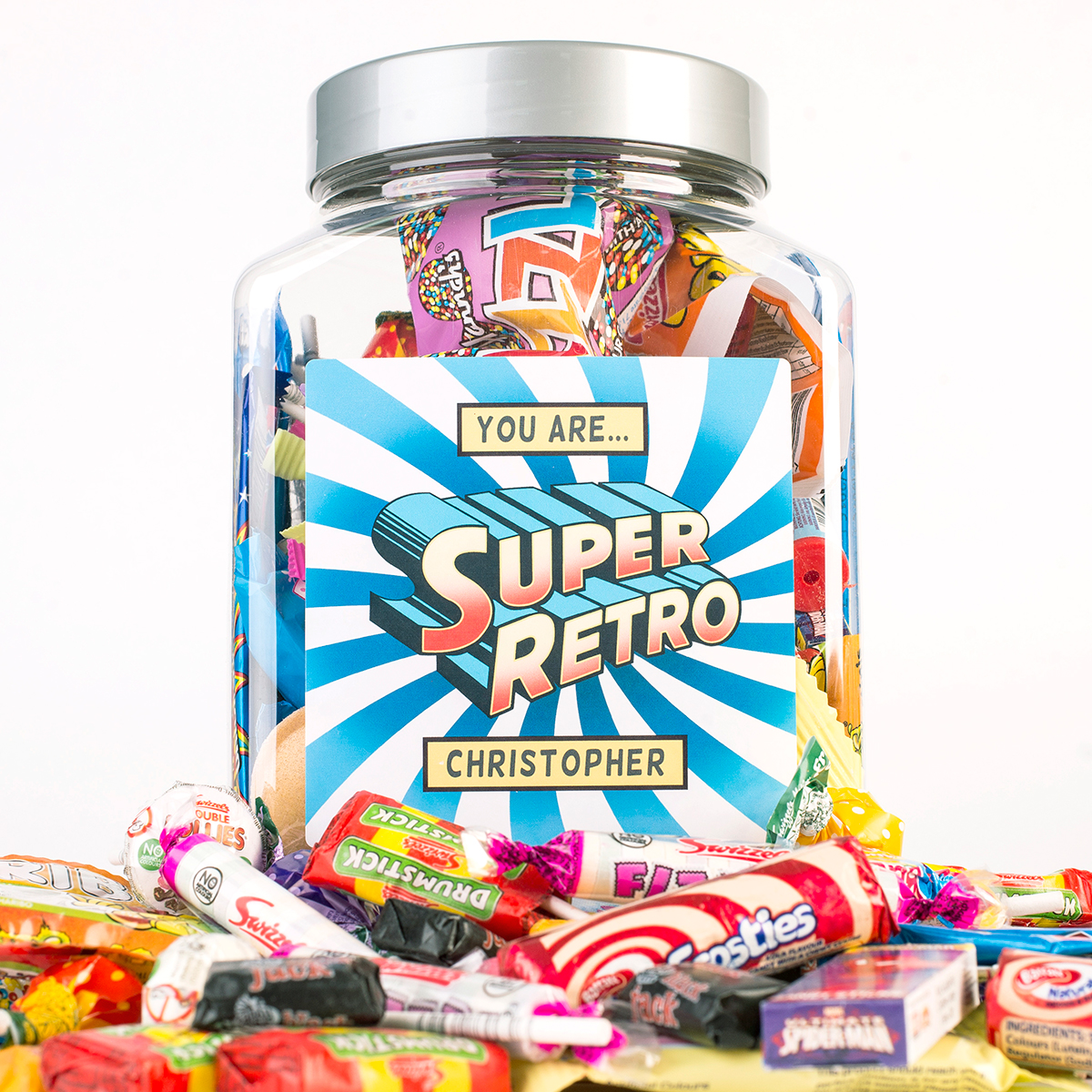 Image of Personalised Retro Sweet Jar - Super Retro
