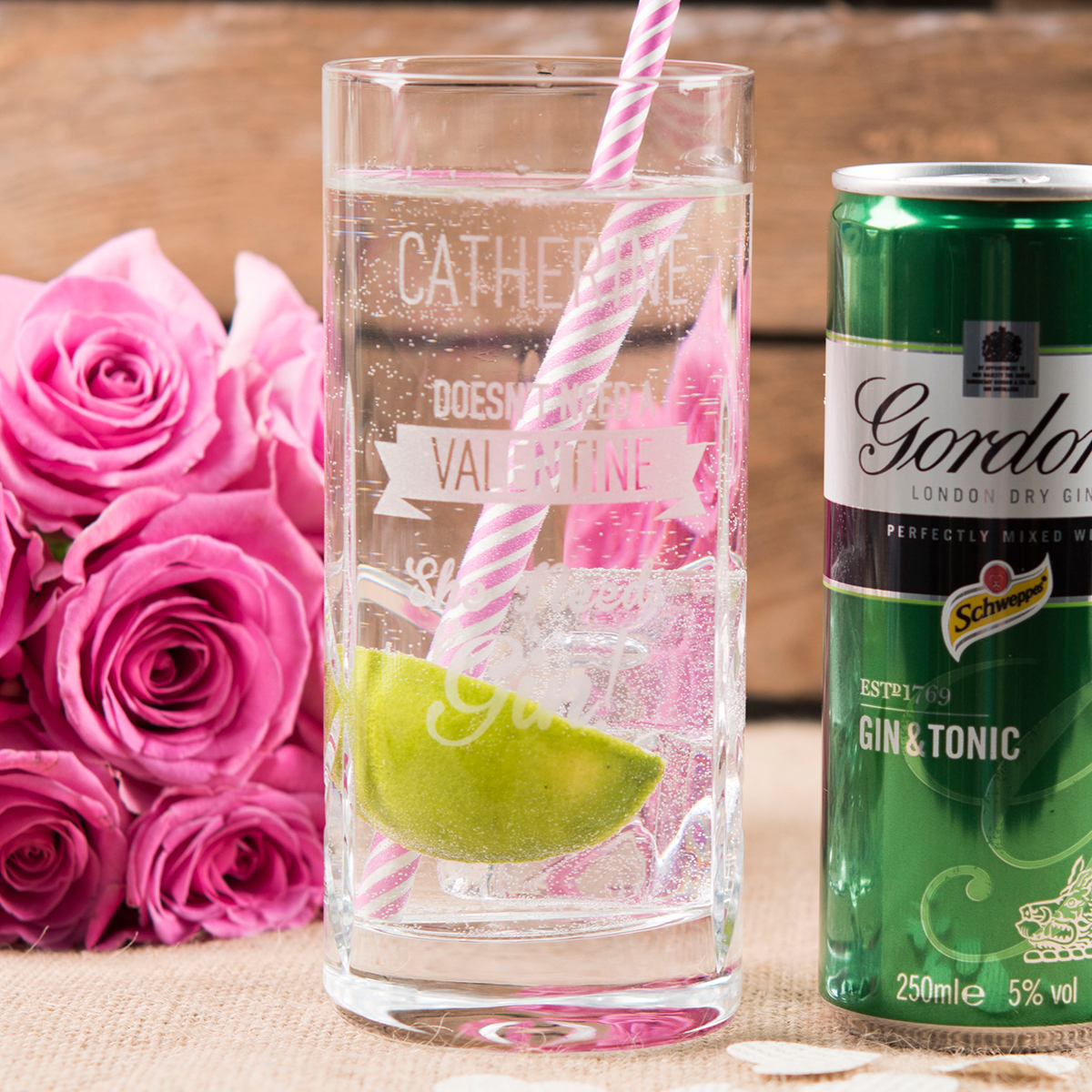 Personalised Highball Glass With Gordons Gin & Tonic Can  Doesnt Need A Valentine