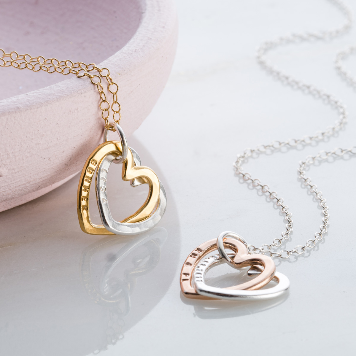 Personalised Posh Totty Designs Interlinking Hearts Necklace With Gold