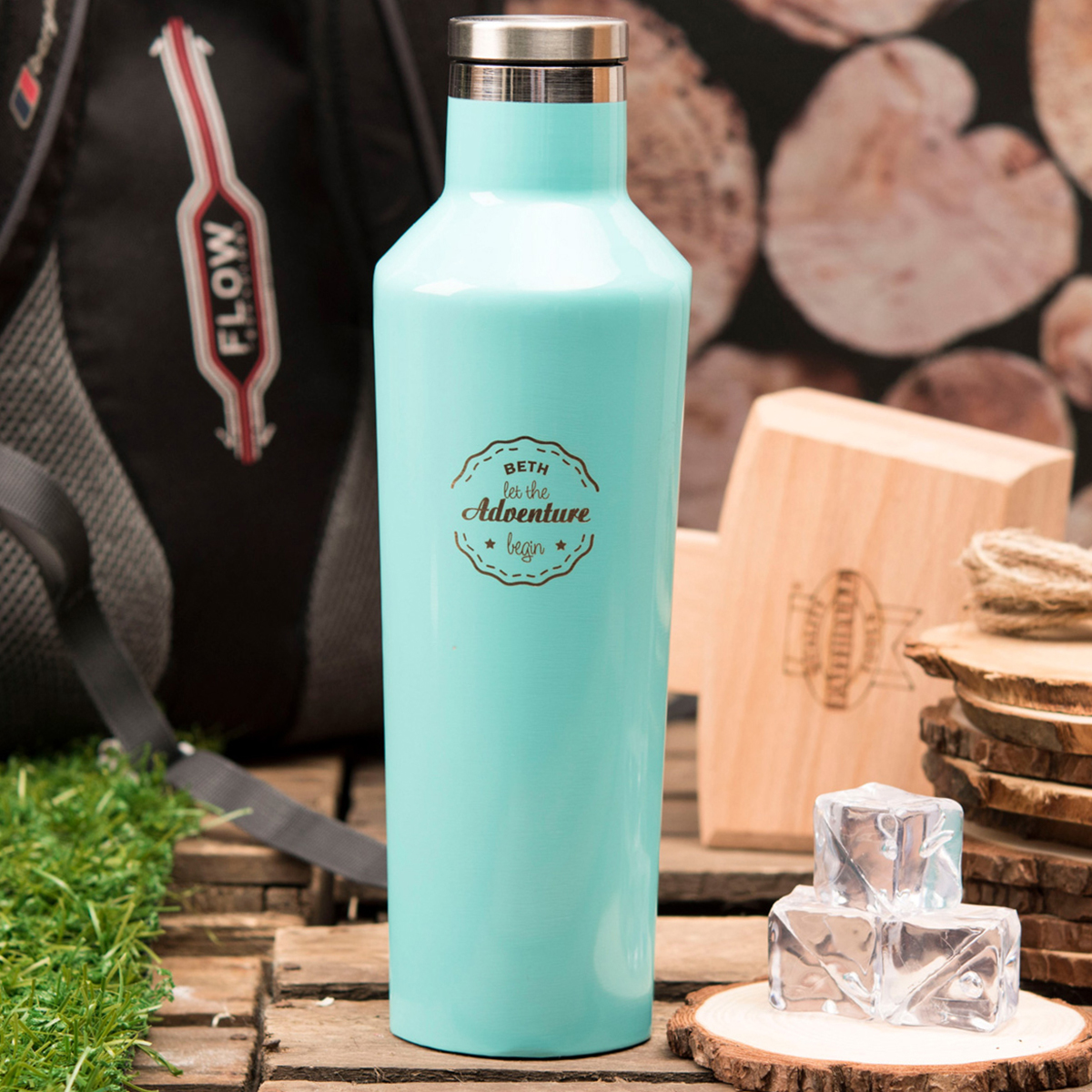 Personalised Corkcicle® Turquoise Canteen  Let The Adventure Begin