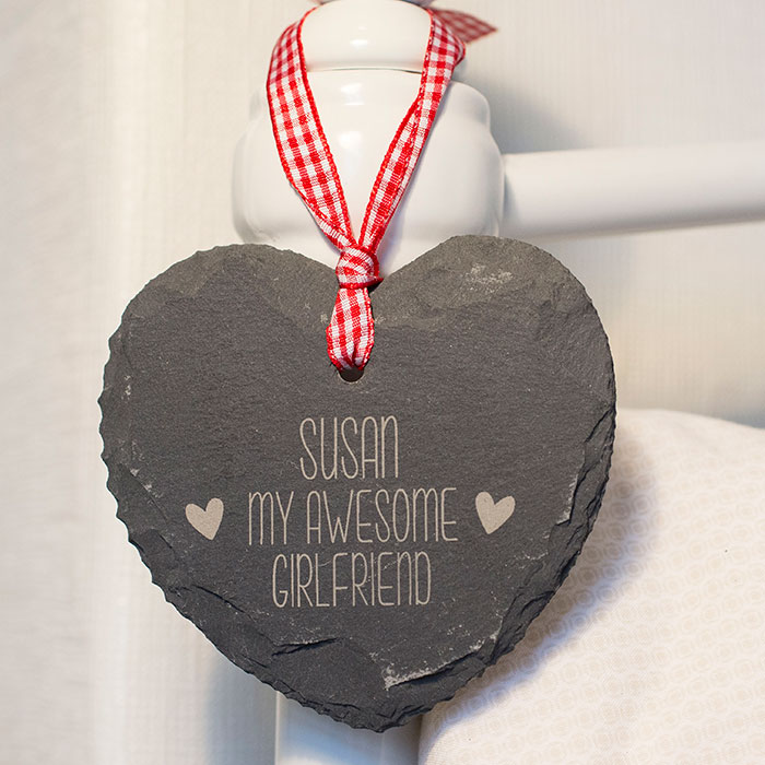 Image of Engraved Heart Shaped Slate Hanging Keepsake - My Awesome Girlfriend