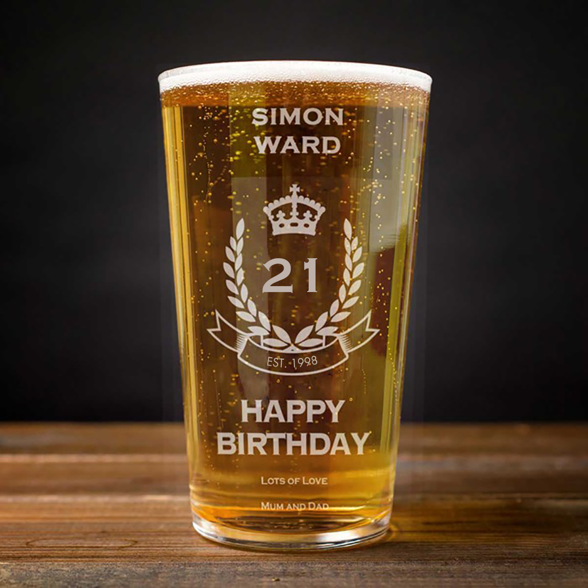 Personalised Pint Glass - 21st Birthday Crest