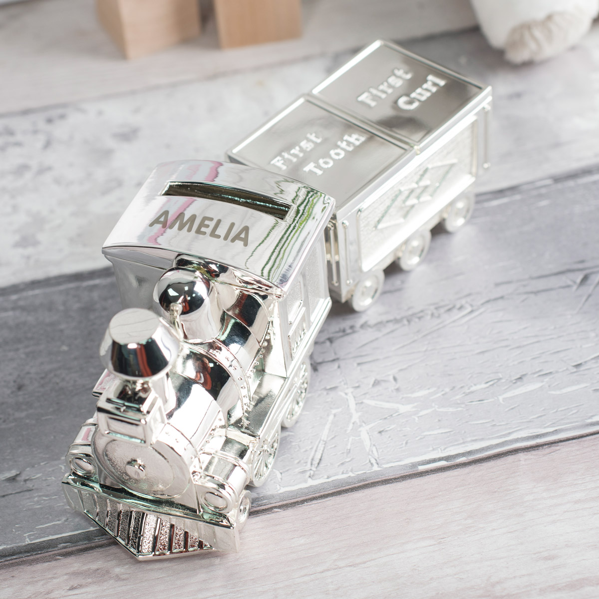 Personalised Train Money Box With Tooth & Curl Carriage