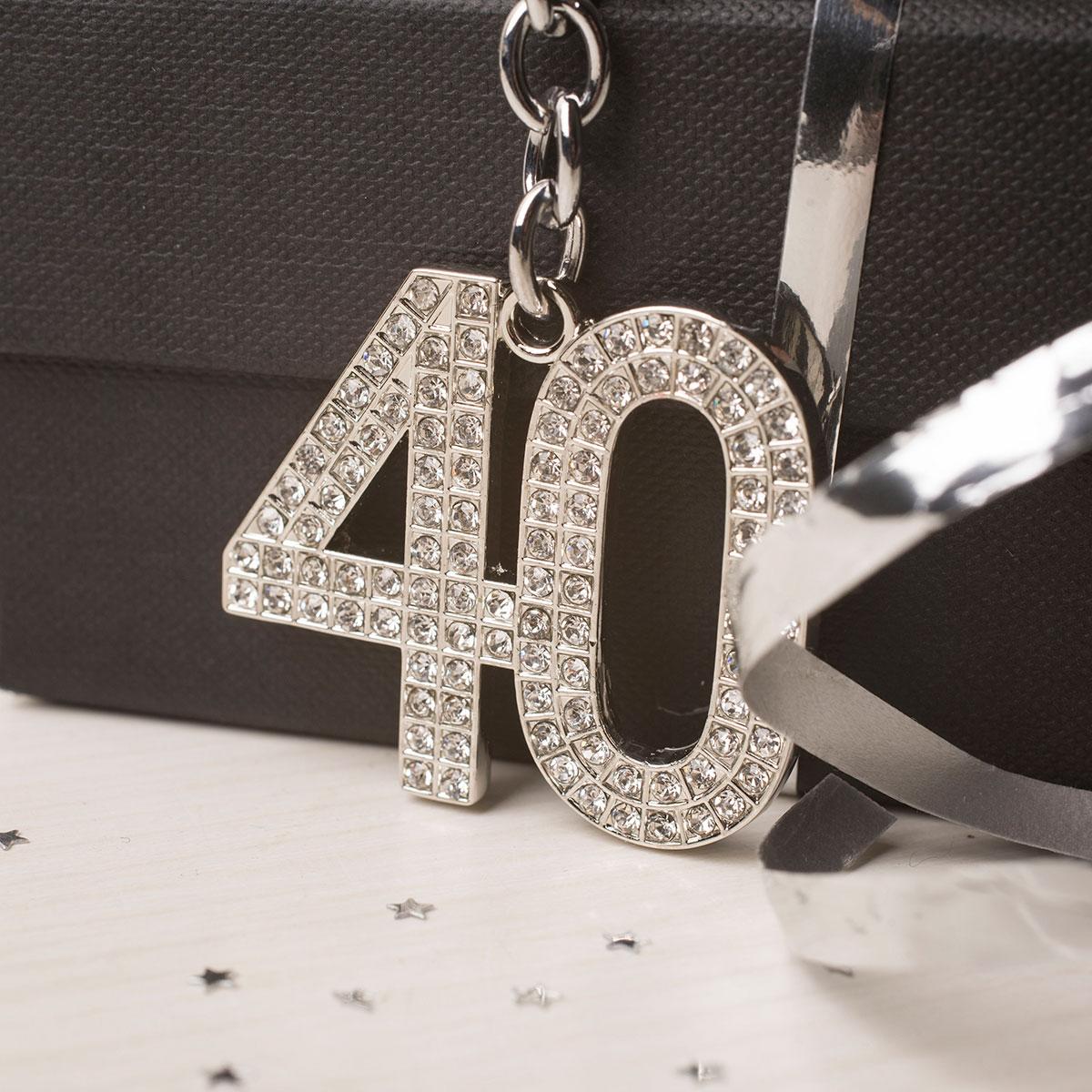 Image of Crystal Keyring - 40th Birthday