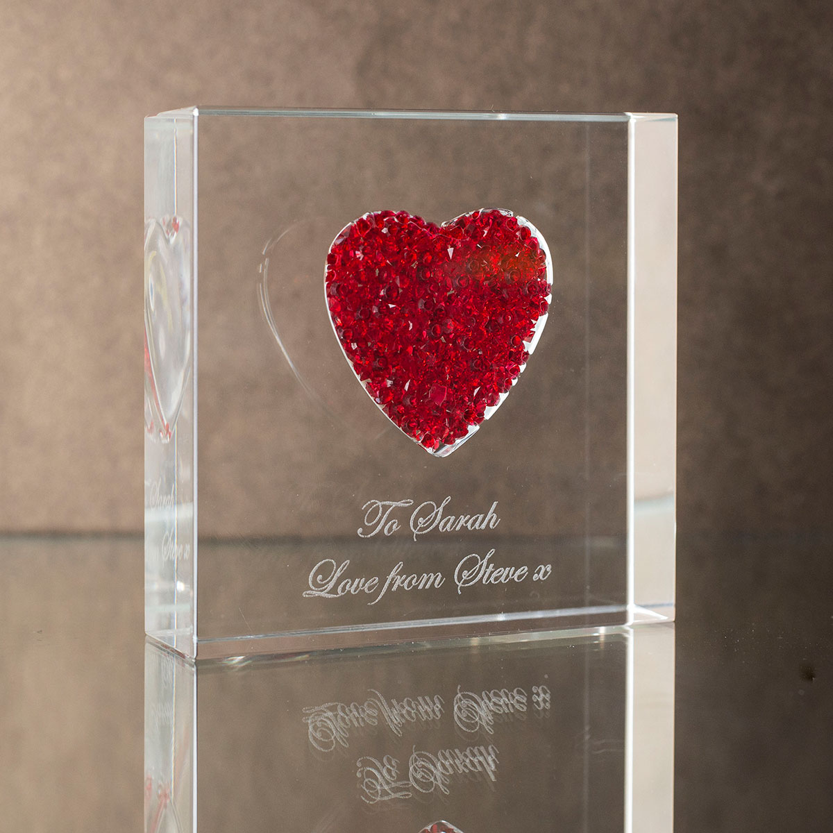Personalised Diamanté Red Heart Glass Paperweight