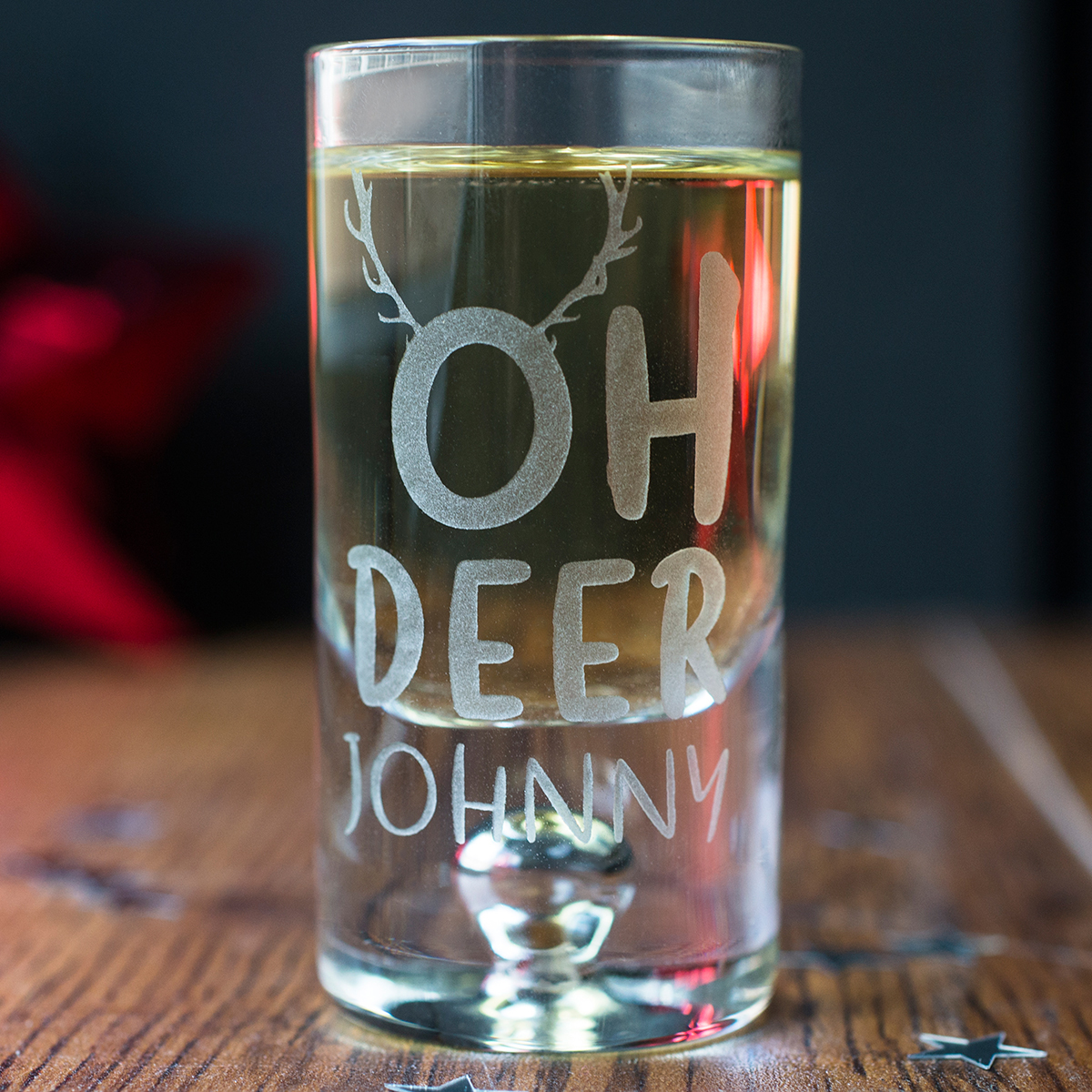 Personalised Shot Glass with Miniature  Oh Deer