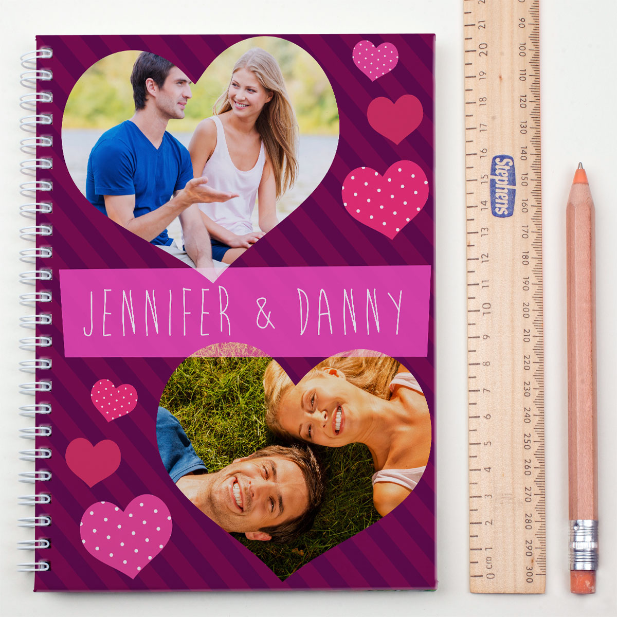Photo Upload Notebook  Hearts
